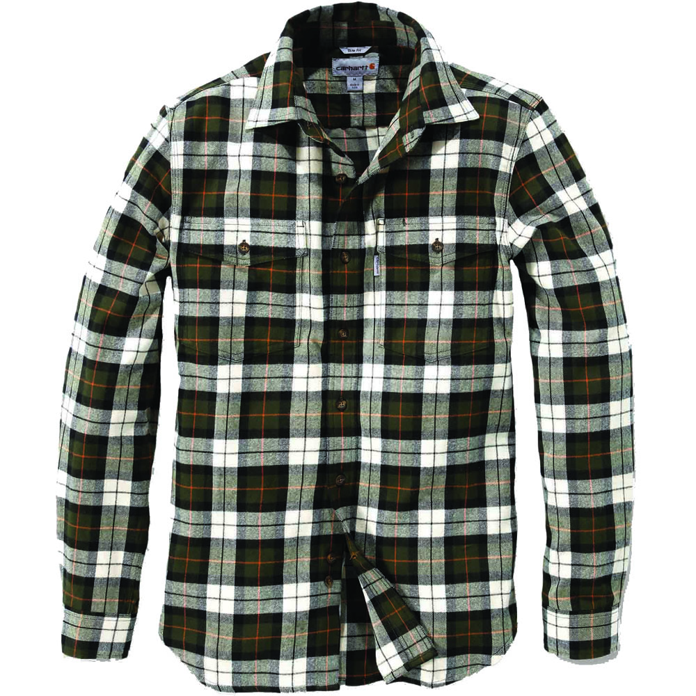 Carhartt mens long sleeve slim fit 100 cotton checked for Mens slim fit flannel shirt