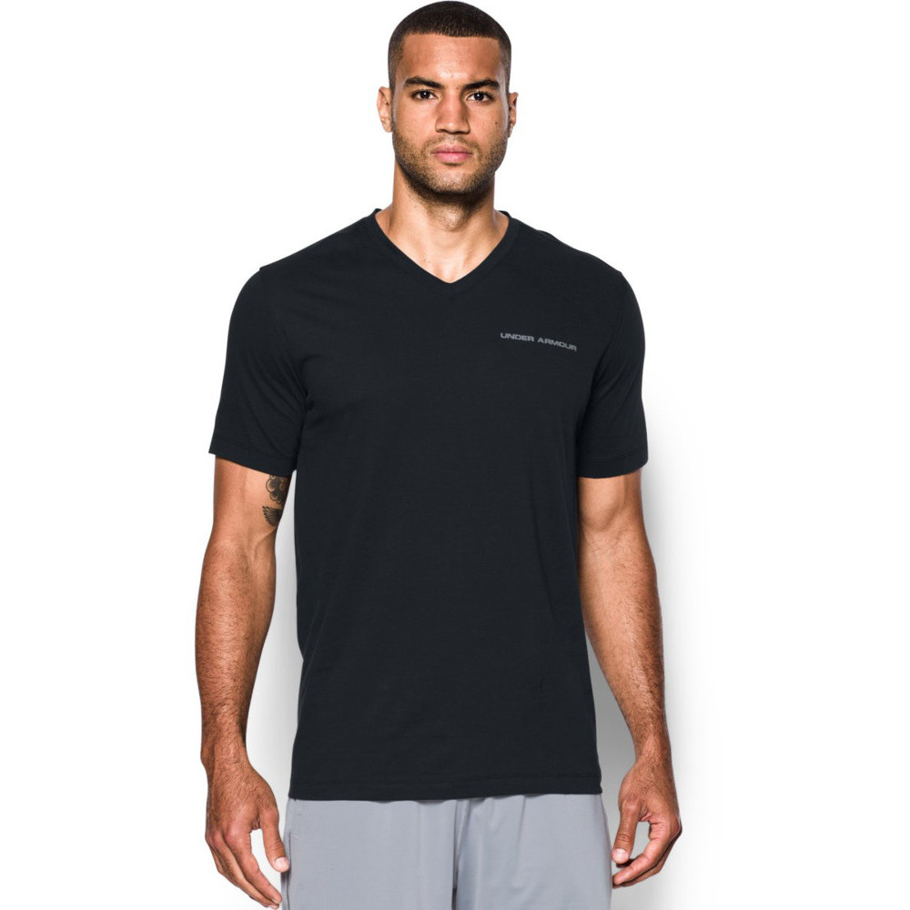 Under armour mens charged cotton v neck moisture wicking t for Mens moisture wicking sleeveless shirts