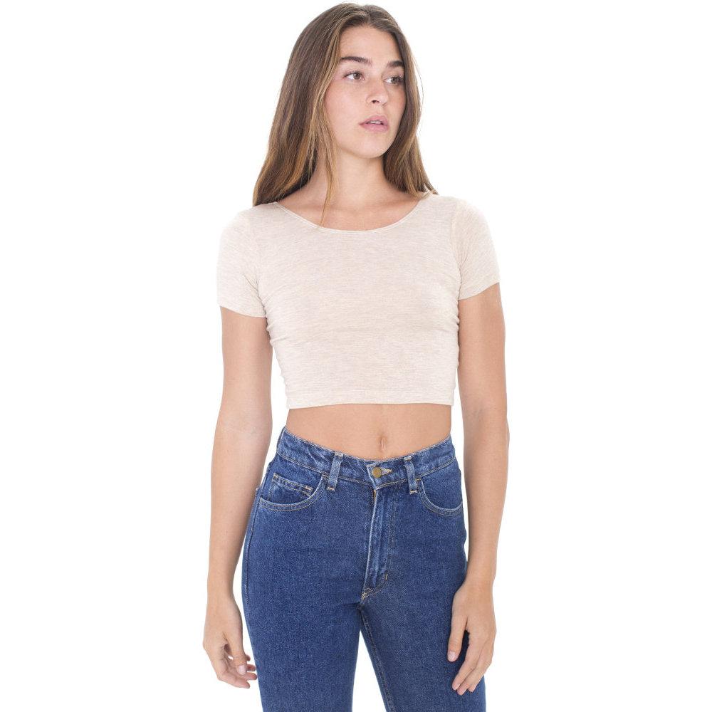 6747bdfb9a43 American Apparel Womens/Ladies Cotton Spandex Jersey Crop T-Shirt   eBay