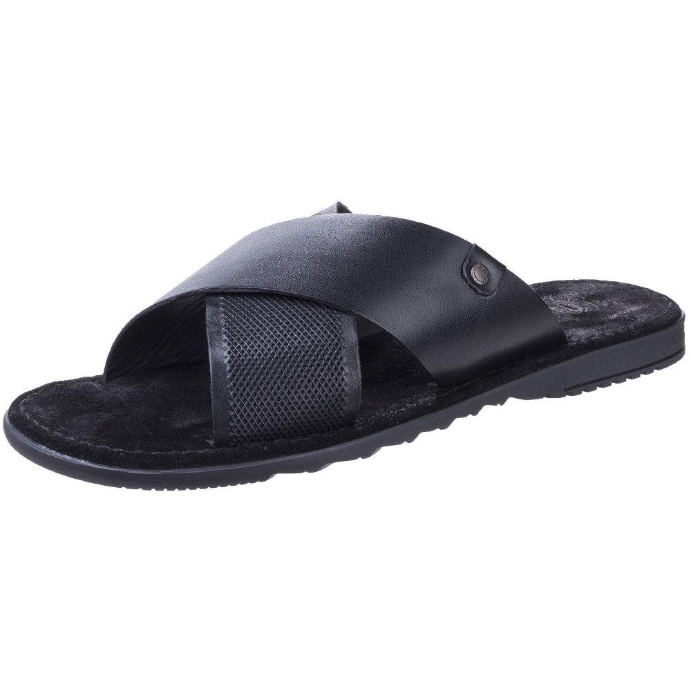 Mens Hector Open Toe Sandals, Black Base London