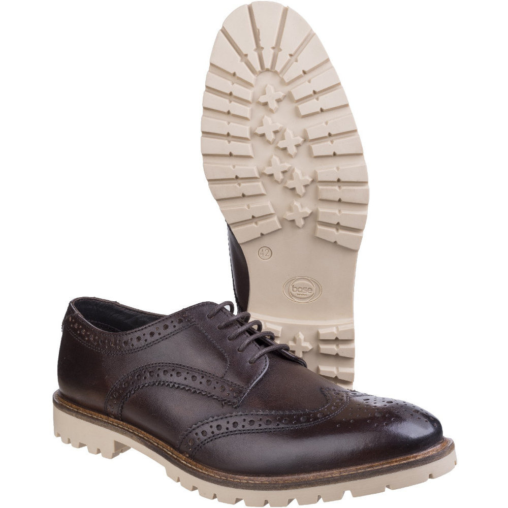 Base London Derby Mens Raid Smooth Leather Smart Casual Brogue Derby London Shoes adbeb8