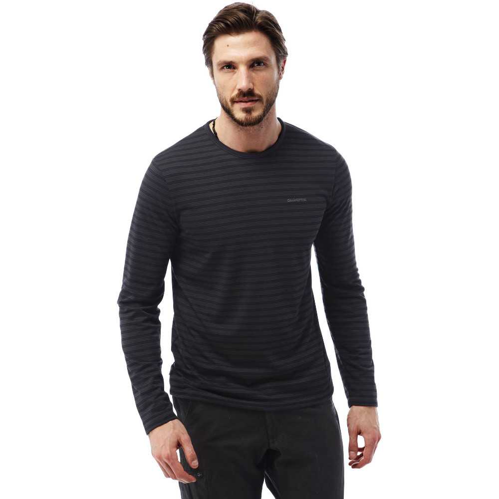 Craghoppers mens bentley long sleeve stripe crew neck t for Mens crew neck tee shirts