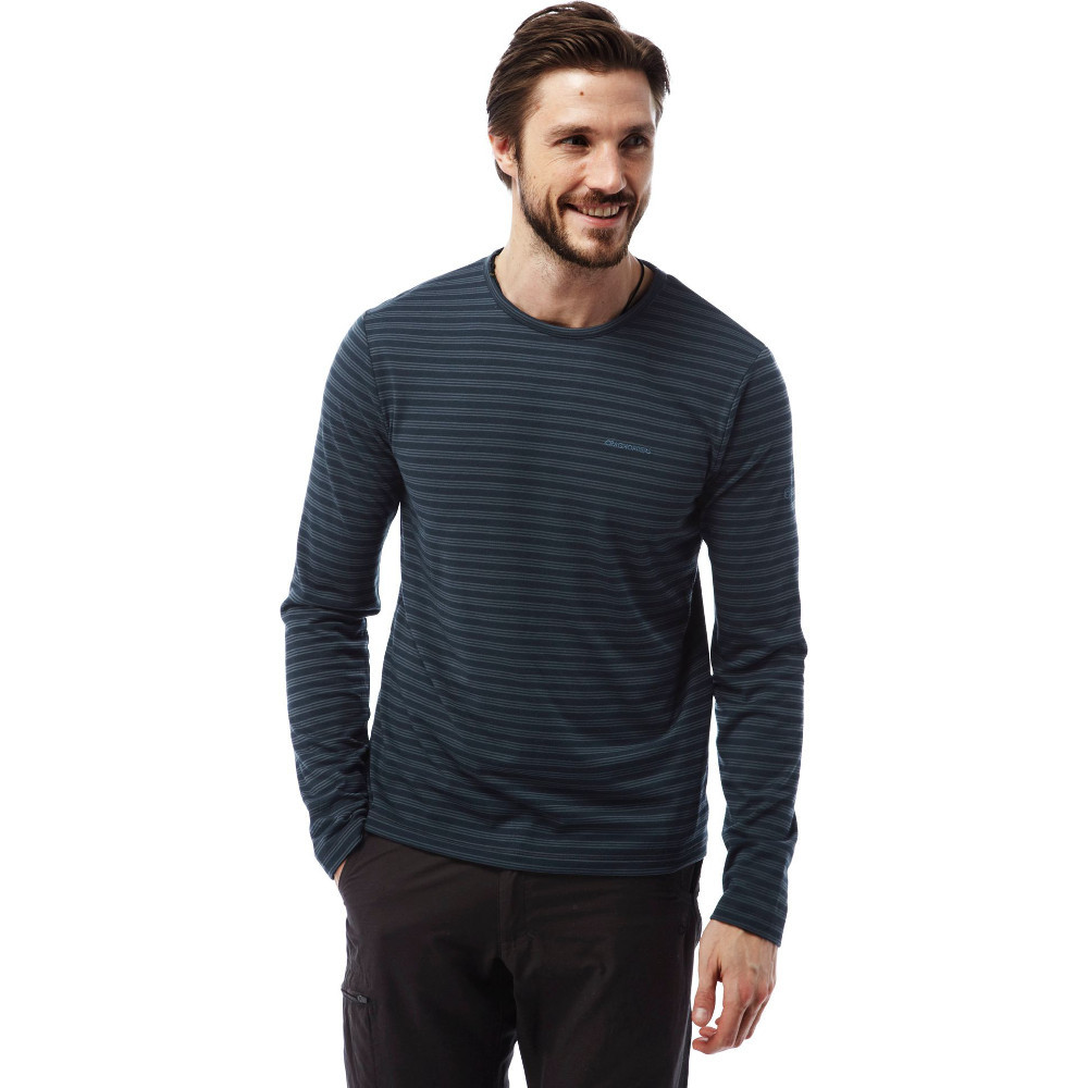 Craghoppers mens bentley long sleeve stripe crew neck t for Mens striped long sleeve t shirt