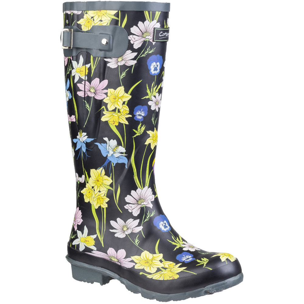 Cotswold DOG PAW WELLY Womens Ladies Adjustable Wellington Boots Black//White New