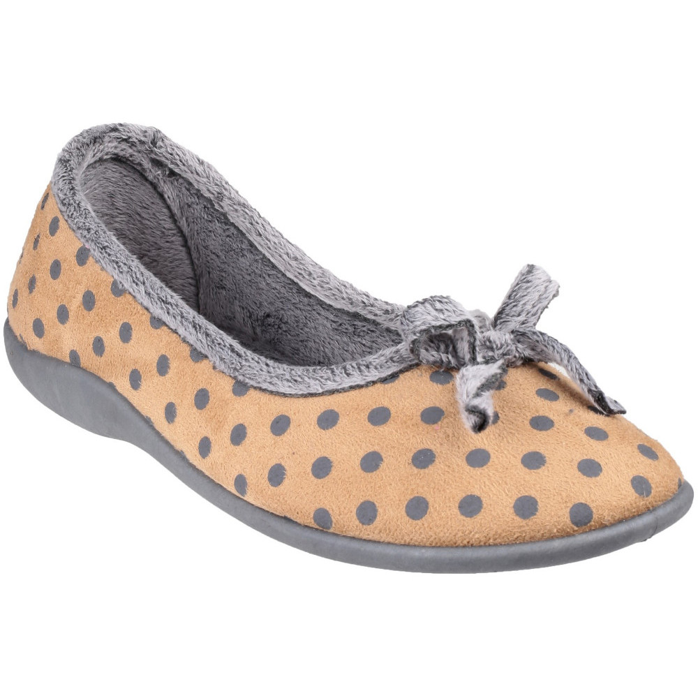Mirak TOULON Ladies Slip On Comfort Fashion Bow Spotted Full Slippers Beige