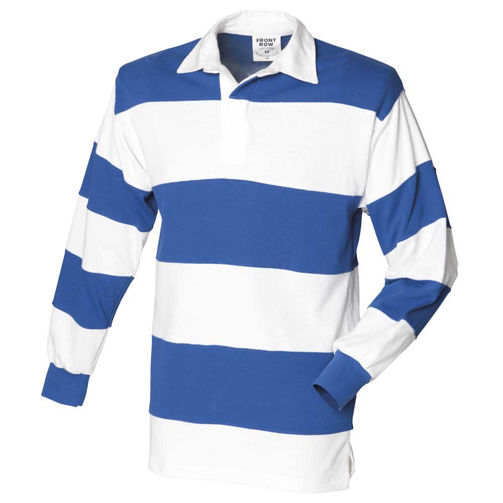 Front row mens sewn stripe long sleeve rugby shirt ebay for Blue and white striped long sleeve t shirt