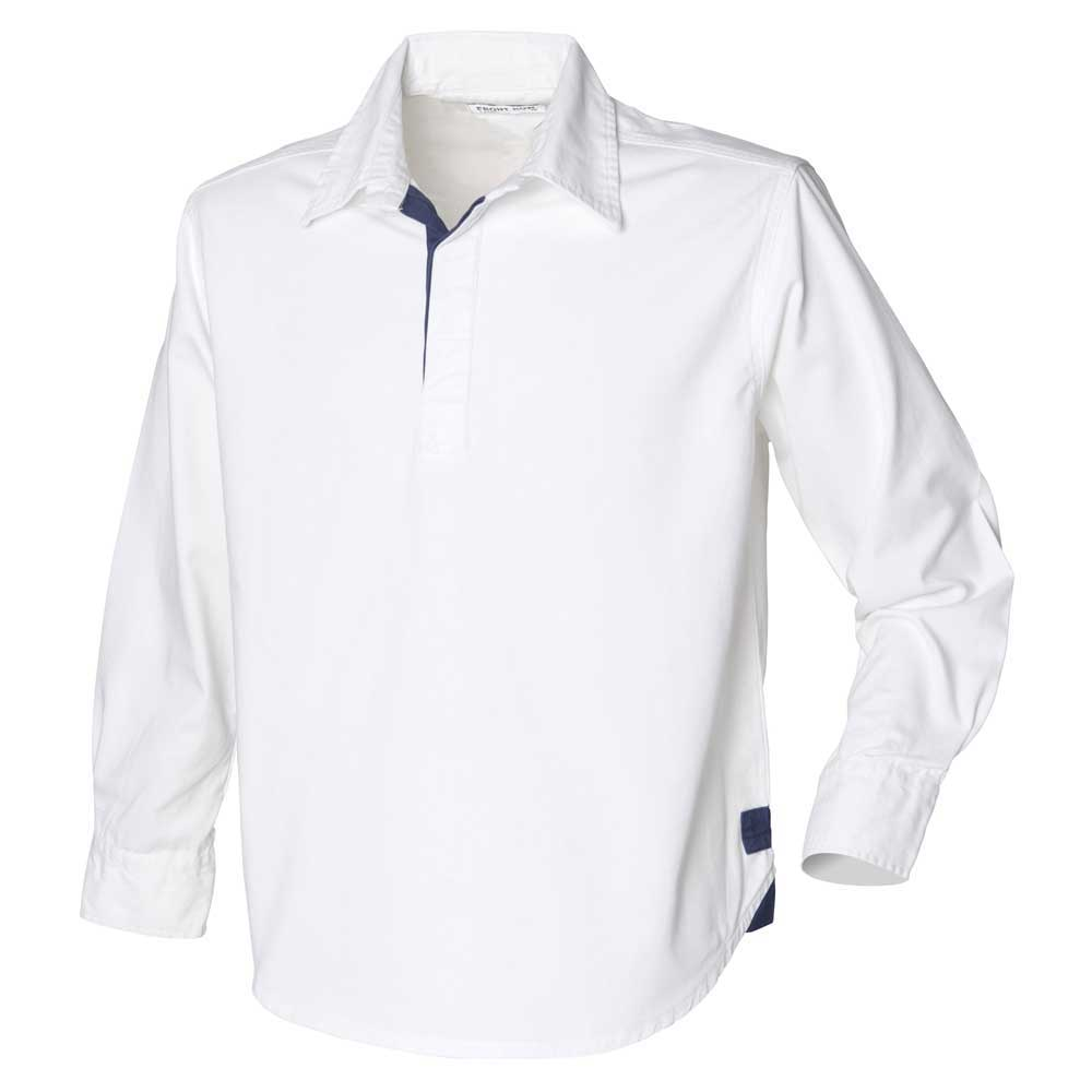 a223347c Front Row Mens Long Sleeve plain drill Cotton Rugby shirt Navy,White ...