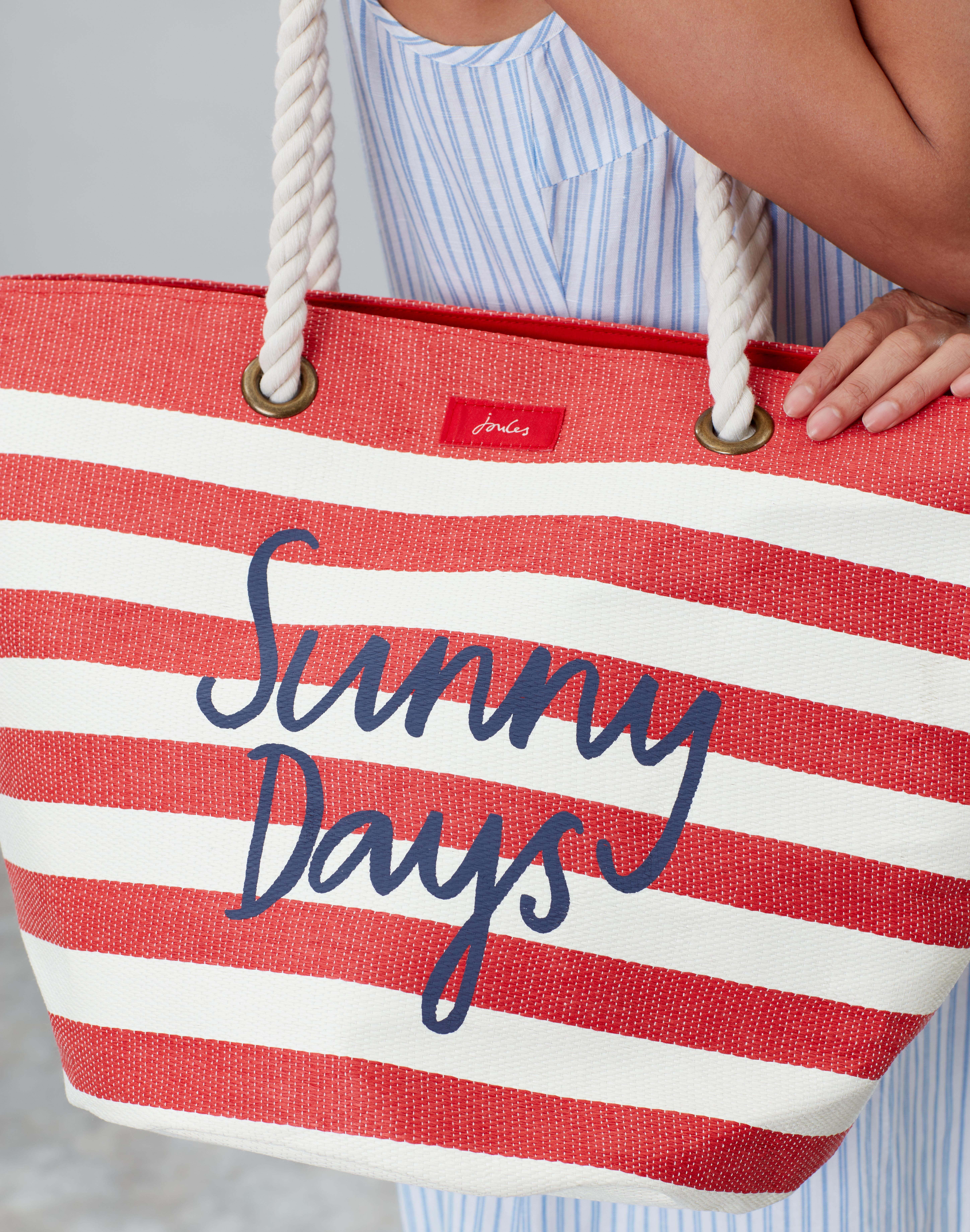 Joules Womens Seaside Fashionable Rope Handle Beach Tote Bag