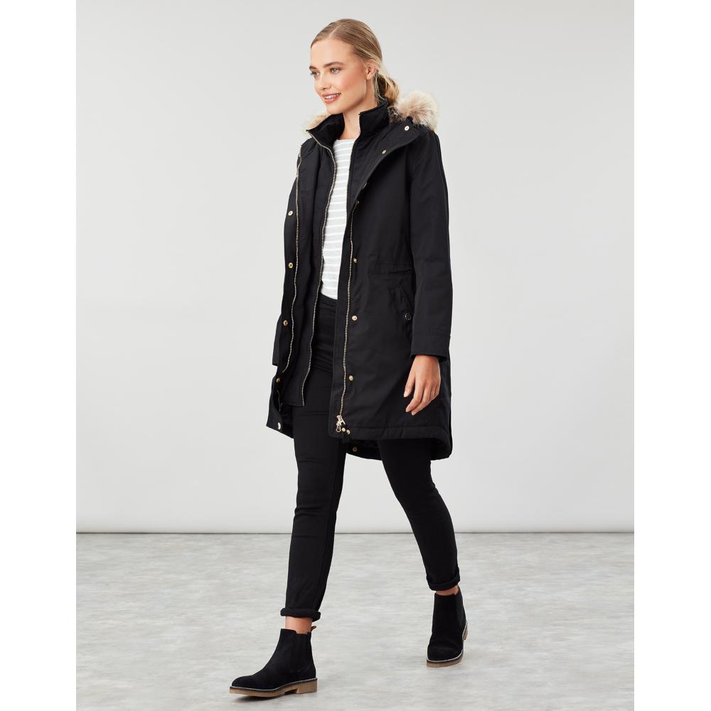 Joules-Womens-Kempton-Hooded-Drop-Tail-Parka-Coat-Jacket miniatuur 21