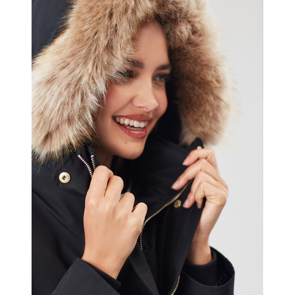 Joules Womens Kempton Hooded Drop Tail Parka Coat Jacket
