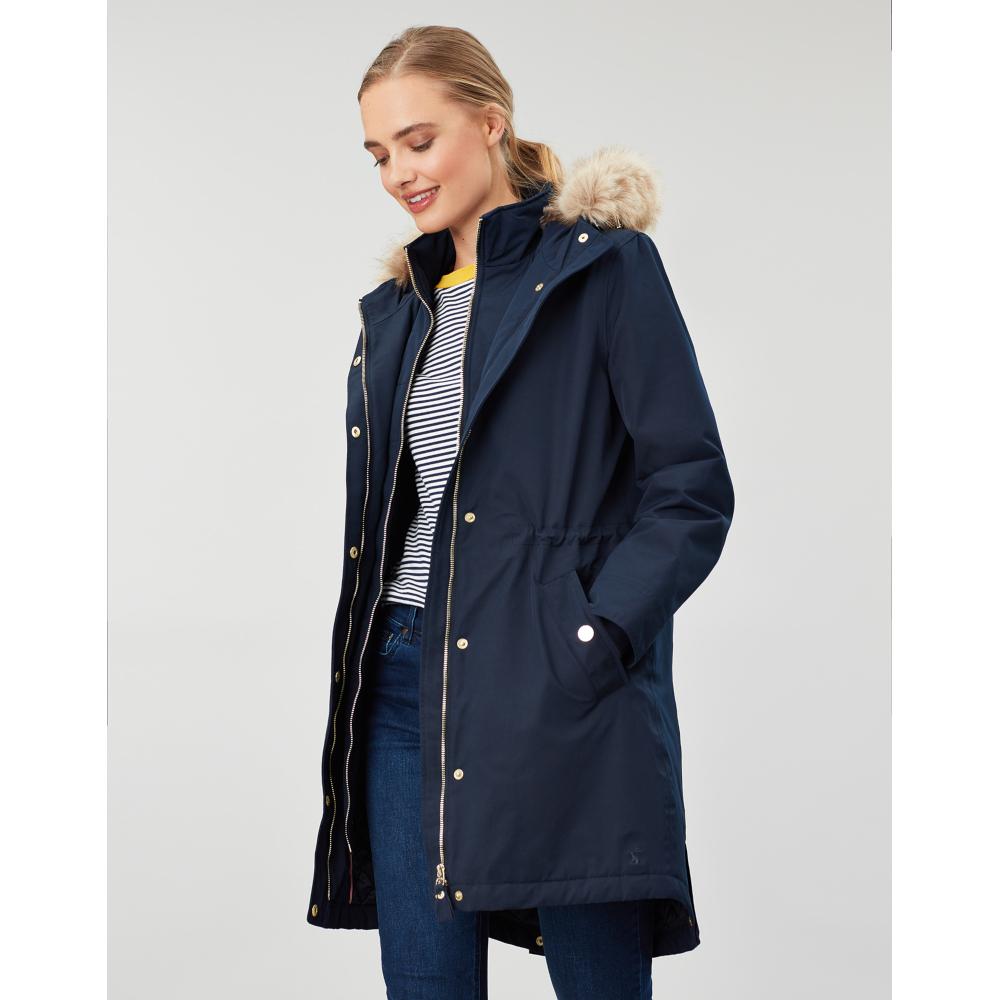 Joules-Womens-Kempton-Hooded-Drop-Tail-Parka-Coat-Jacket miniatuur 14