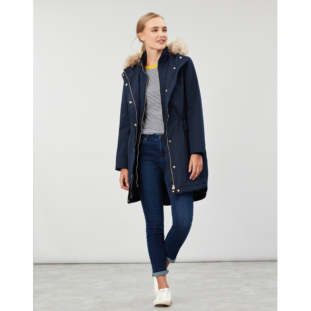Joules-Womens-Kempton-Hooded-Drop-Tail-Parka-Coat-Jacket miniatuur 15