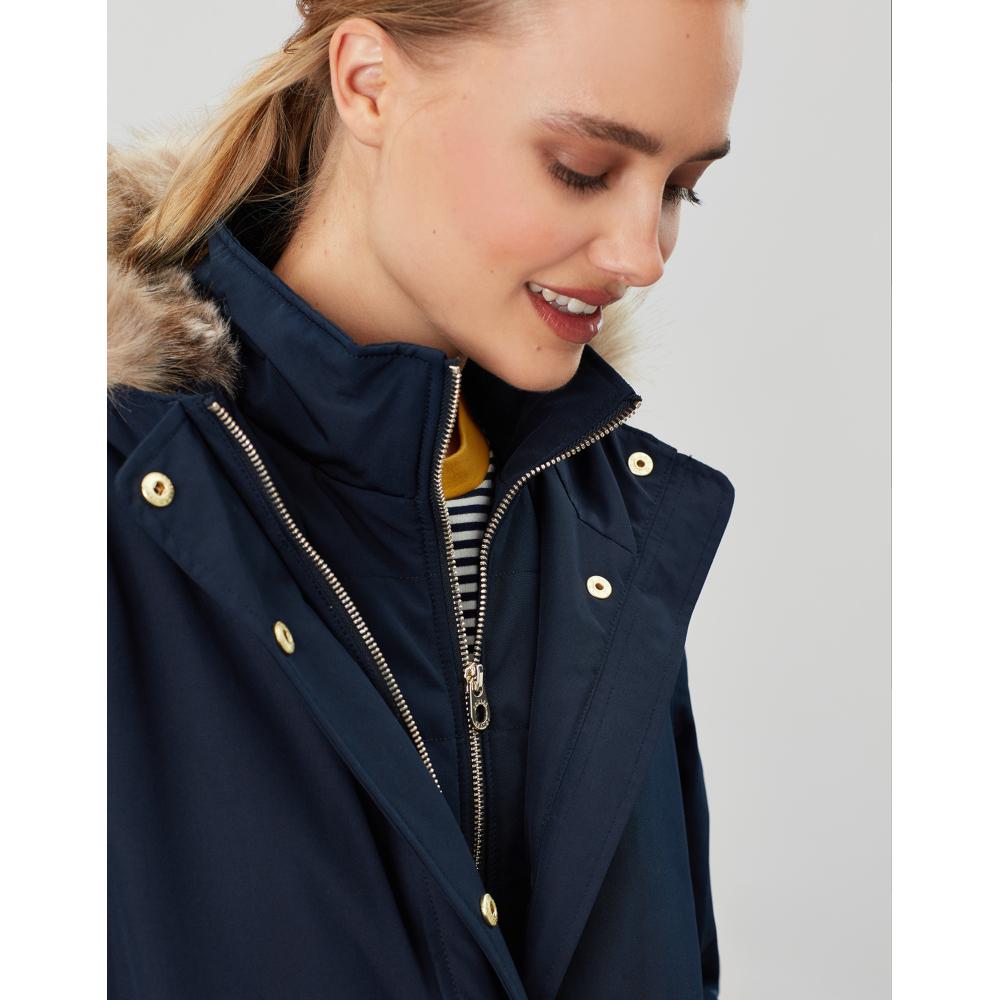 Joules-Womens-Kempton-Hooded-Drop-Tail-Parka-Coat-Jacket miniatuur 17