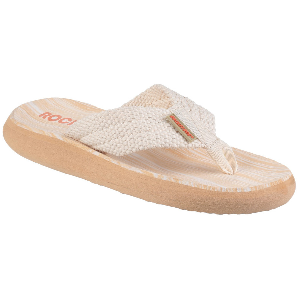 cbc40a5a5b0 Rocket Dog Womens ladies Sunset Slip on Textile Flip Flop Sandals Double  Cream UK Size 8 (eu 41 US 10)