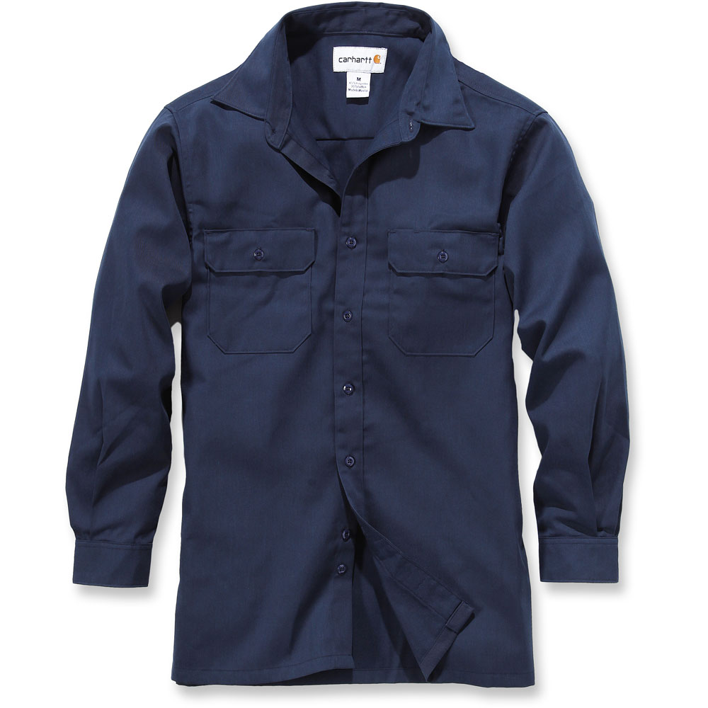 Carhartt mens twill polyester cotton long sleeve button for Polyester button up shirt