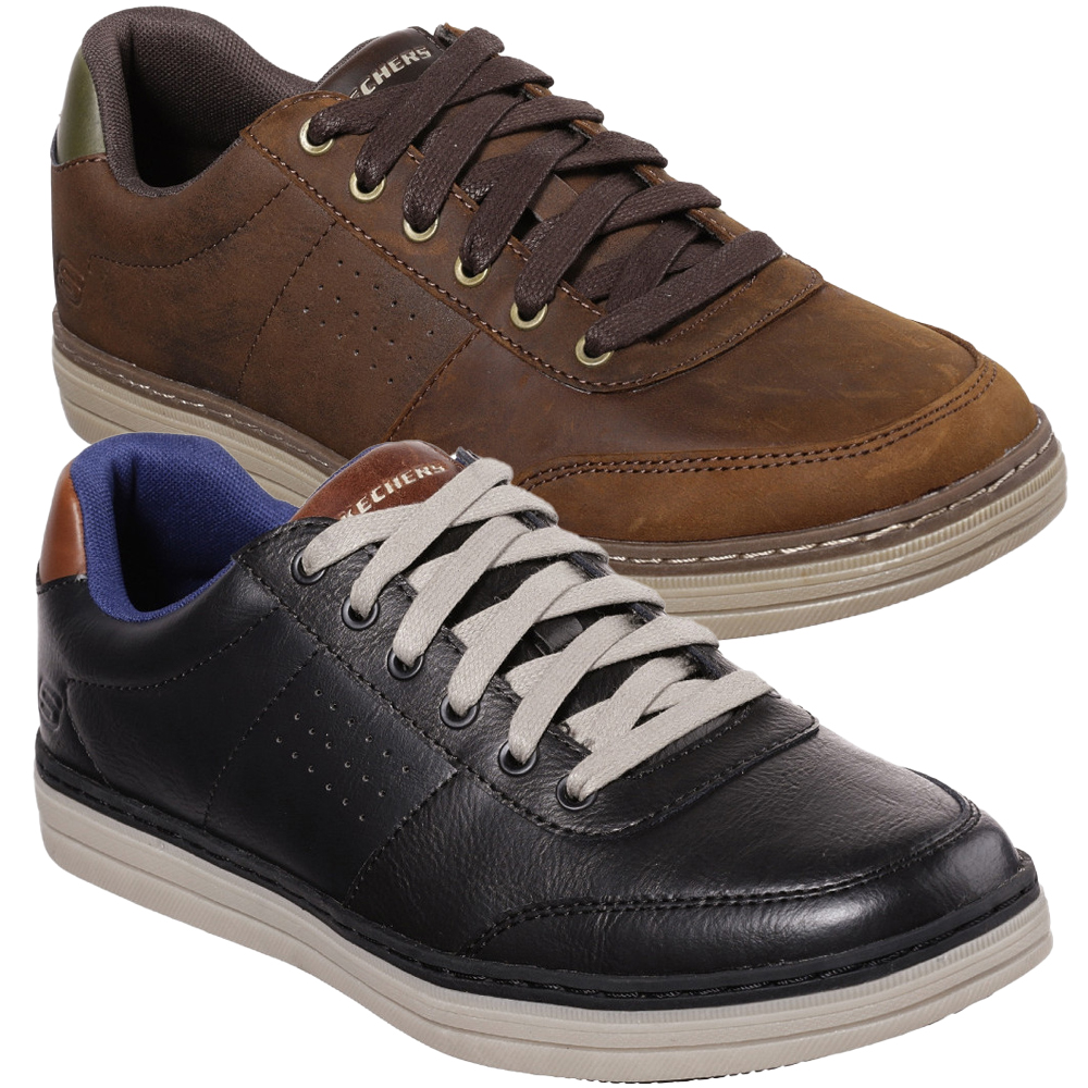 Skechers-Mens-Heston-Avano-Leather-Lace-Up-Casual-Shoes
