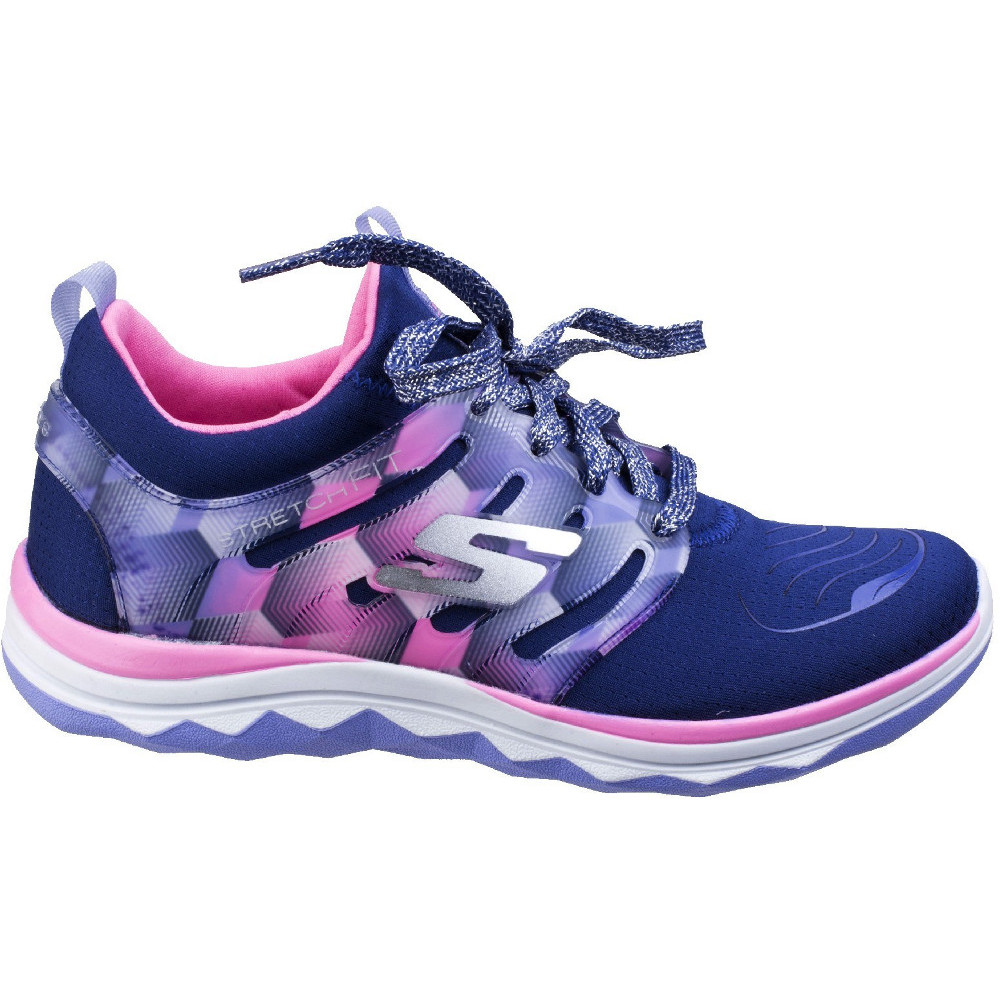 a7f58d05d26e Skechers Girls Diamond Runner Lace Up Athletic Sports Trainers Shoes ...