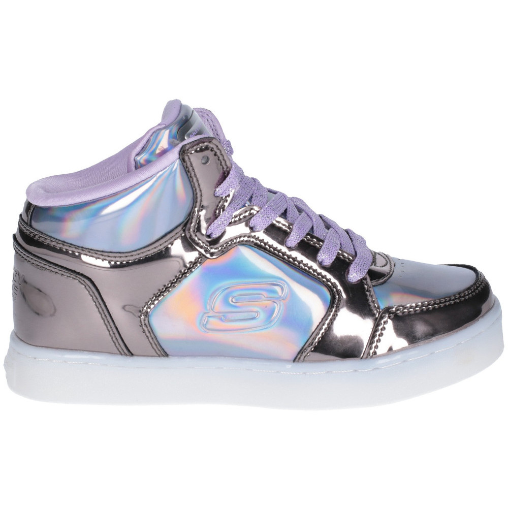 17961fb1ec60 Skechers Girls Energy Lights Shiny Brights High Top Trainers