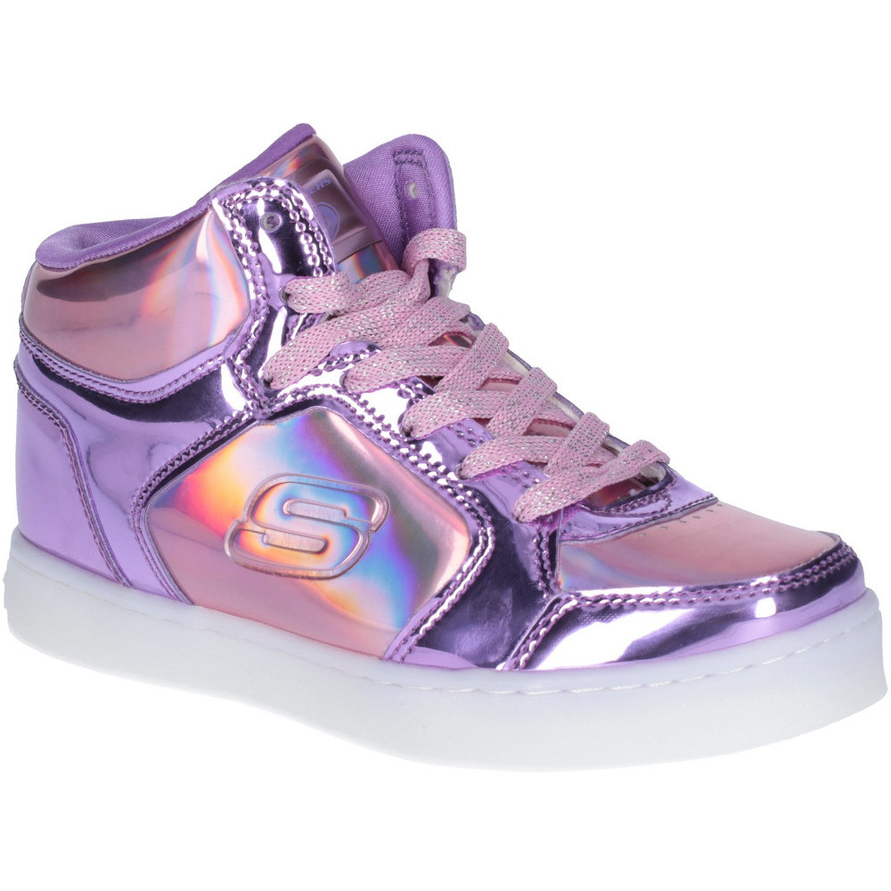 2ff4b2ce0bbf Skechers Girls Energy Lights Shiny Brights High Top Trainers