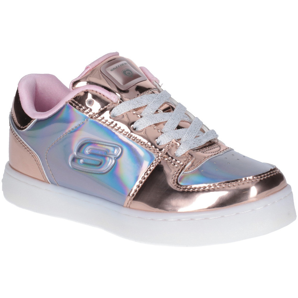 Skechers Girls Energy Lights Metallic Lace Up Trainers Ebay