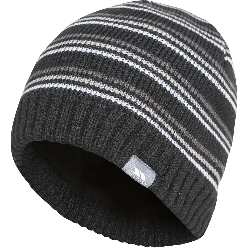 18fbb37181b7a Trespass Mens Ray Stripe Pattern Knitted Winter Beanie Hat